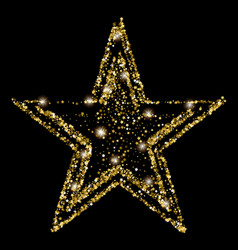golden glitter star of many small stars vector image