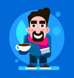 guy wearing a scarf and a mug of hot chocolate vector image