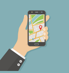 hand holding smartphone with gps navigation map on vector image