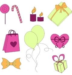 Happy birthday elements colorful set vector image