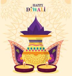 happy diwali festival hinduism lights celebration vector image