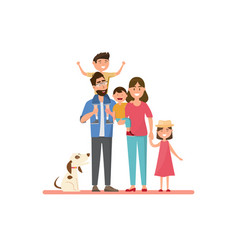 happy family father mother bason and daughter vector image