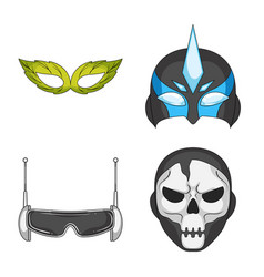 hero and mask sign set of vector image