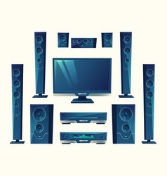 Home theater acoustic equipment stereo vector