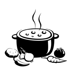 Hot soup food ingredients vector