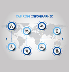 infographic design with camping icons vector image