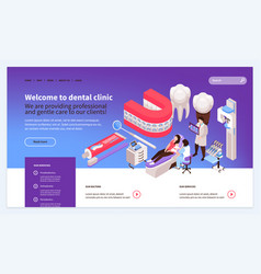 isometric dentist landing page vector image