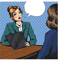 job interview pop art vector image