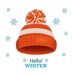 Knitted Woolen Red Hat for Winter Season Card vector