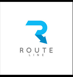 letter r logo arrow route concept on white vector image