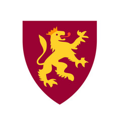 lion on shield heraldry coat arms crest vector image