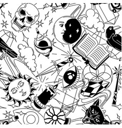 magic seamless pattern with mystery items mystic vector image