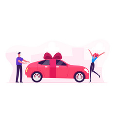Man giving car with bow as present happy vector