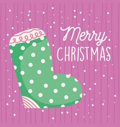 Merry christmas celebration dotted green sock snow vector