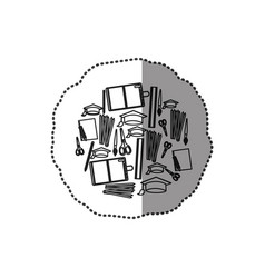 monochrome contour sticker with set formed by vector image