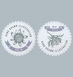 Monochrome labes with passion flower vector