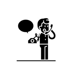 negotiations on the phone black icon sign vector image