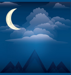 Night and mountains design vector
