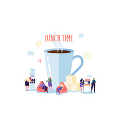 office lunch time business people characters vector image