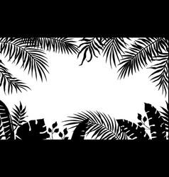 palm leaves frame black silhouette banana tree vector image