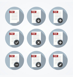 Pdf documents icons set vector image