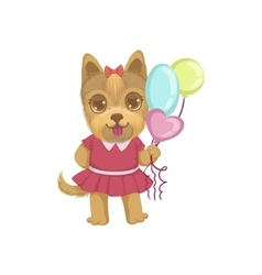 Puppy holding balloons vector