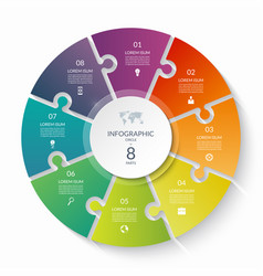 Puzzle infographic circle with 8 steps options vector