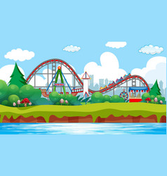 Scene with roller coaster and viking ship in the vector