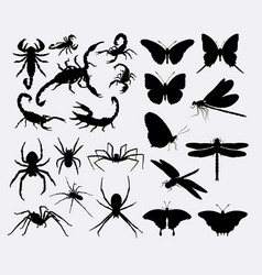 Scorpion butterfly dragonfly animal silhouettes vector