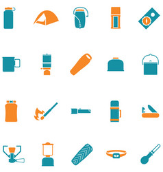 set icons for travel and outdoors vector image