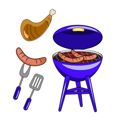 set of barbecue isolated on white background flat vector image