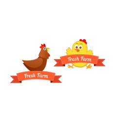 set of emblems with chickens vector image