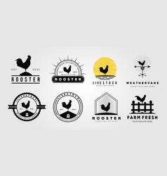 Set rooster chicken livestock logo weathervane vector