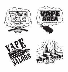 set vintage vape lounge emblems designs vector image