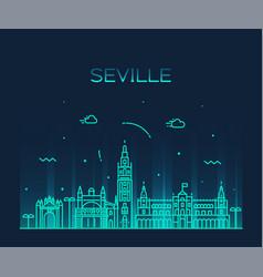 Seville skyline spain linear style city vector