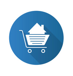 shopping cart with house inside flat design long vector image