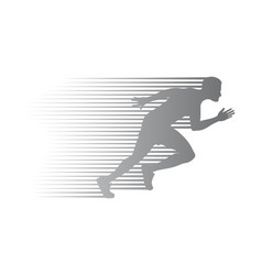 Silhouette jogger on finish athletic running vector