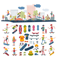 Skateboarders on skateboard characters vector