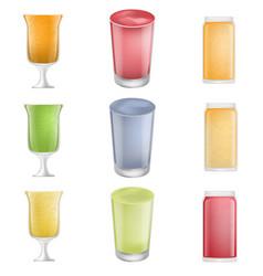 smoothie fruit juice icons set realistic style vector image