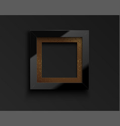 Square glossy luxury black frame with vector