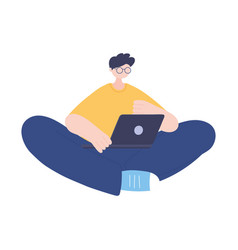 Stay at home guy with laptop self isolation vector