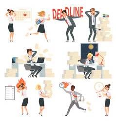 Stressed office people overworked deadline time vector