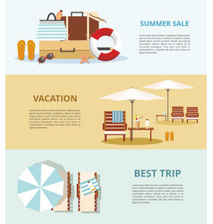 summer vacation and tourism set three web banners vector image