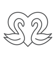 swans thin line icon romance and love swans and vector image