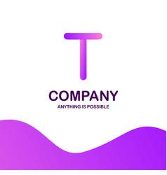 t company logo design with purple theme vector image