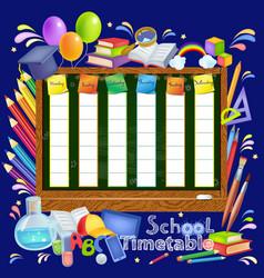 Template school timetable vector