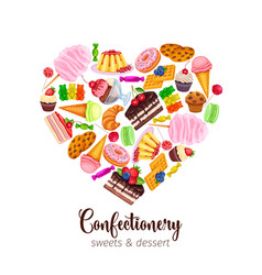 Template with confectionery and sweets i vector