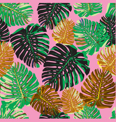 tropical leaves seamless pattern colorful isolated vector image