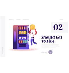 Vending machine food website landing page man put vector