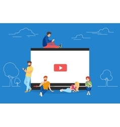 Video concept of young people using vector image
